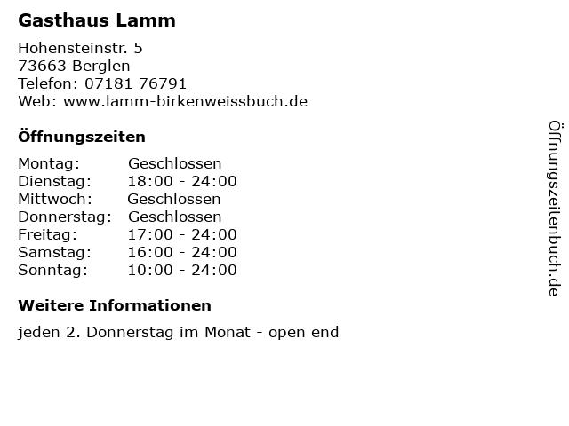 Gasthaus Lamm in Berglen: Adresse und Öffnungszeiten