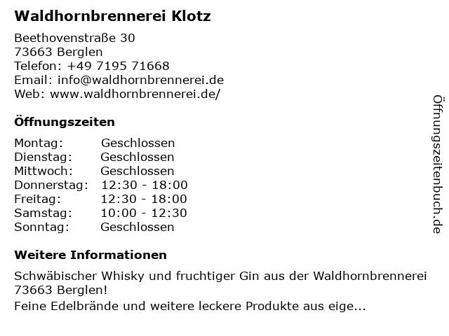 Waldhornbrennerei Klotz in Berglen: Adresse und Öffnungszeiten