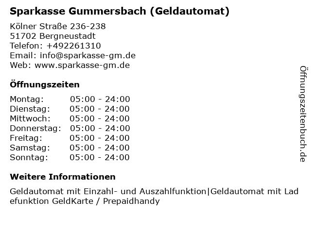 Sparkasse Gummersbach-Bergneustadt - (Geldautomat Hauptgeschäftsstelle) in Bergneustadt: Adresse und Öffnungszeiten