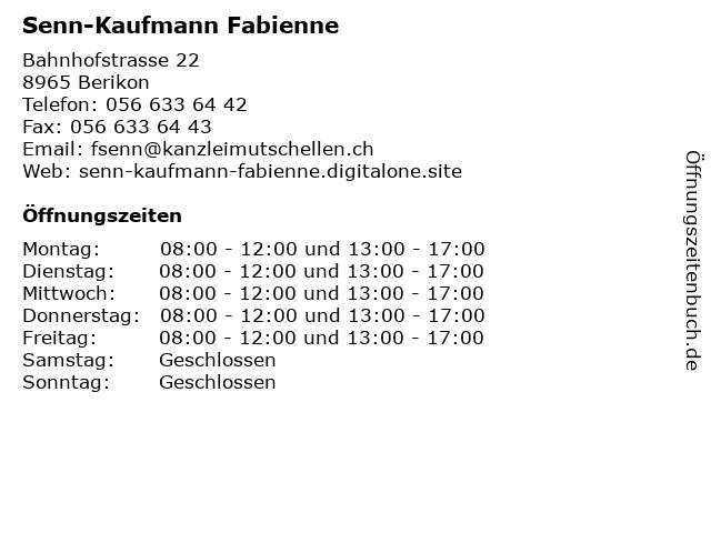 Fabienne Senn-Kaufmann in Berikon: Adresse und Öffnungszeiten