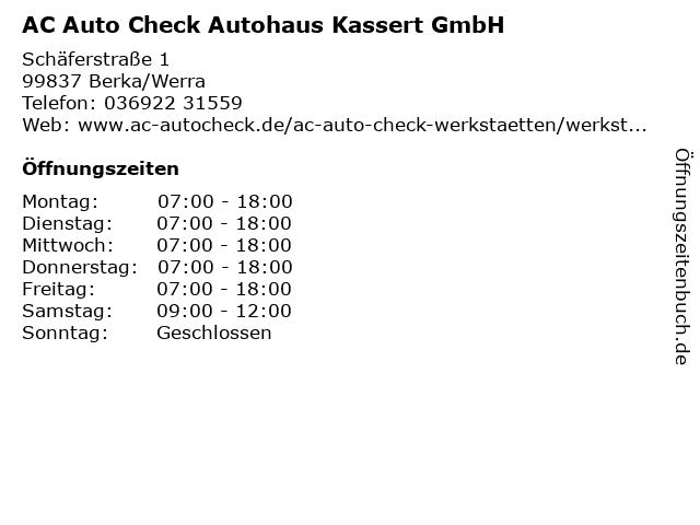 AC Auto Check Autohaus Kassert GmbH in Berka/Werra: Adresse und Öffnungszeiten