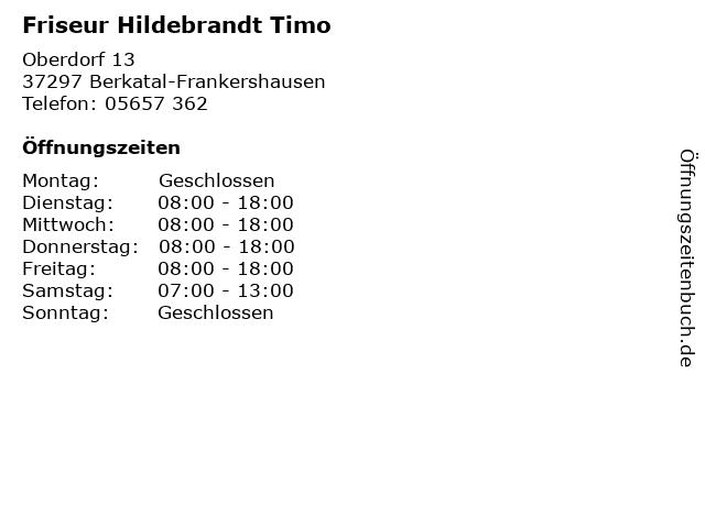 Friseur Hildebrandt Timo in Berkatal-Frankershausen: Adresse und Öffnungszeiten