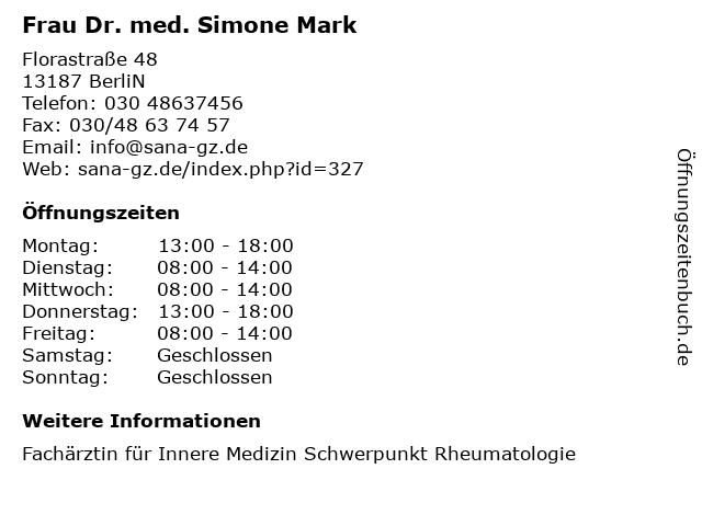Frau Dr. med. Simone Mark in BerliN: Adresse und Öffnungszeiten