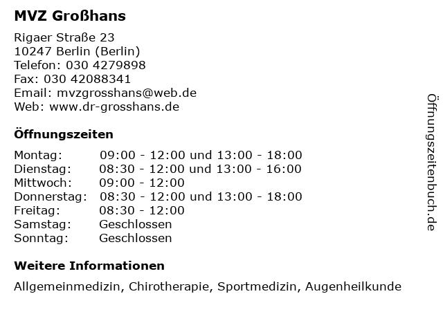 MVZ Großhans in Berlin (Berlin): Adresse und Öffnungszeiten