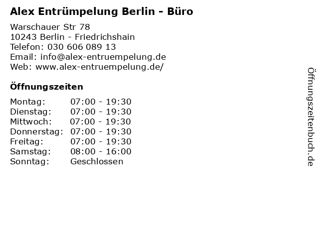 Alex Entrümpelung Berlin - Büro in Berlin - Friedrichshain: Adresse und Öffnungszeiten