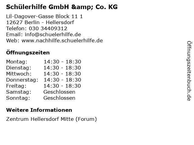 Schülerhilfe GmbH & Co. KG in Berlin - Hellersdorf: Adresse und Öffnungszeiten