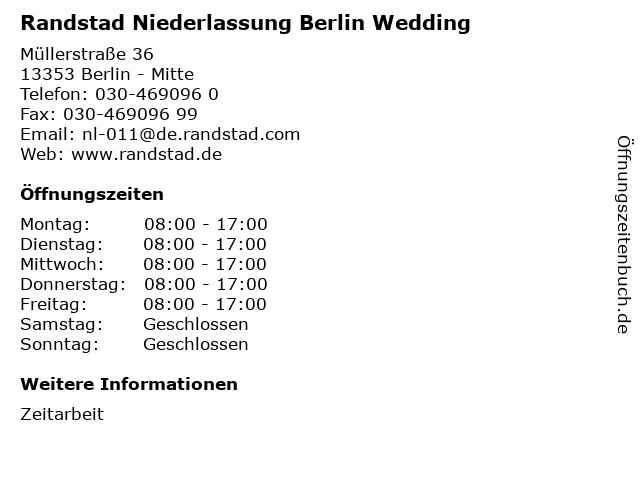 Randstad Niederlassung Berlin Wedding in Berlin - Mitte: Adresse und Öffnungszeiten