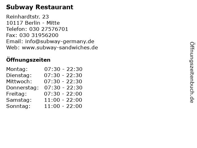 Subway Restaurant in Berlin - Mitte: Adresse und Öffnungszeiten