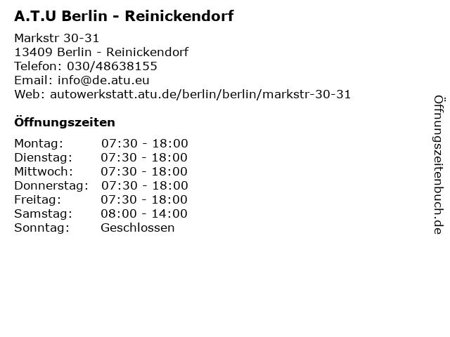 A.T.U Berlin - Reinickendorf in Berlin - Reinickendorf: Adresse und Öffnungszeiten
