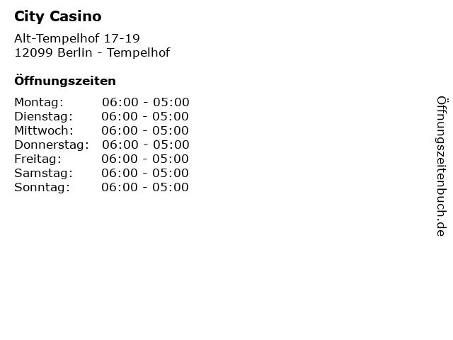 City Casino in Berlin - Tempelhof: Adresse und Öffnungszeiten