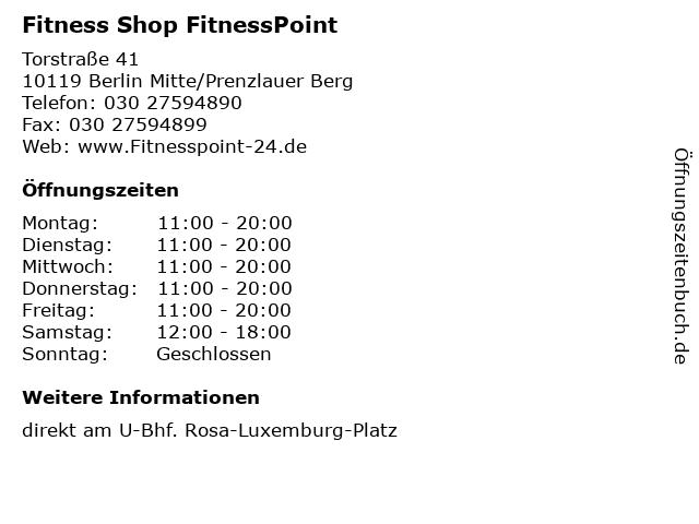 Fitness Shop FitnessPoint in Berlin Mitte/Prenzlauer Berg: Adresse und Öffnungszeiten