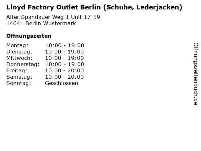 Lloyd Factory Outlet Berlin (Schuhe, Lederjacken) in Berlin Wustermark: Adresse und Öffnungszeiten