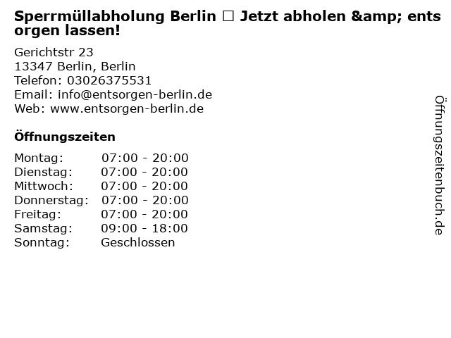 Sperrmüllabholung Berlin ♻ Jetzt abholen & entsorgen lassen! in Berlin, Berlin: Adresse und Öffnungszeiten