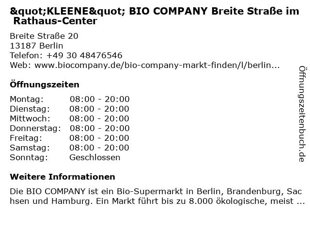 BIO COMPANY Breite Straße in Berlin: Adresse und Öffnungszeiten