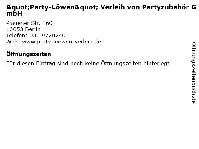 """""""Party-Löwen"""" Verleih von Partyzubehör GmbH in Berlin: Adresse und Öffnungszeiten"""