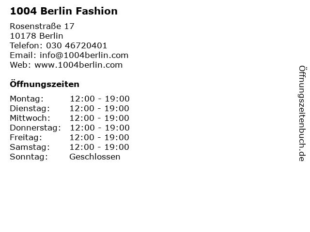 1004 Berlin Fashion in Berlin: Adresse und Öffnungszeiten