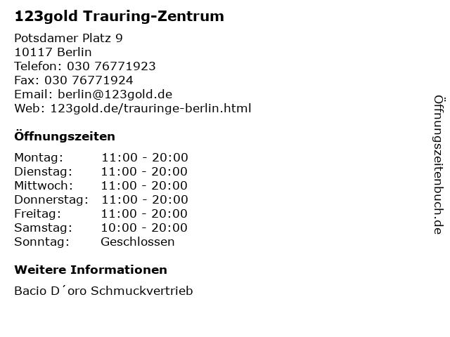 123gold Trauring-Zentrum in Berlin: Adresse und Öffnungszeiten