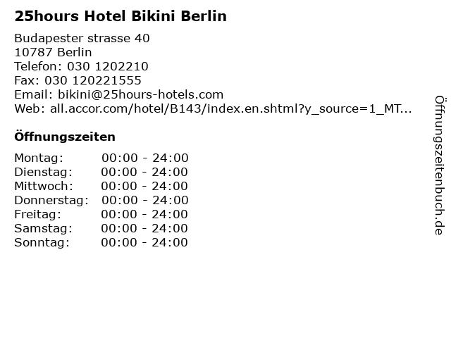 25hours Hotel Bikini Berlin in Berlin: Adresse und Öffnungszeiten