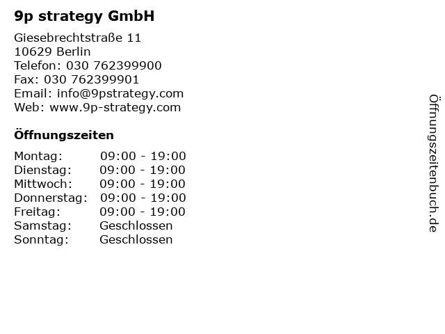9p strategy GmbH in Berlin: Adresse und Öffnungszeiten