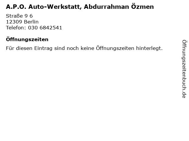 A.P.O. Auto-Werkstatt, Abdurrahman Özmen in Berlin: Adresse und Öffnungszeiten