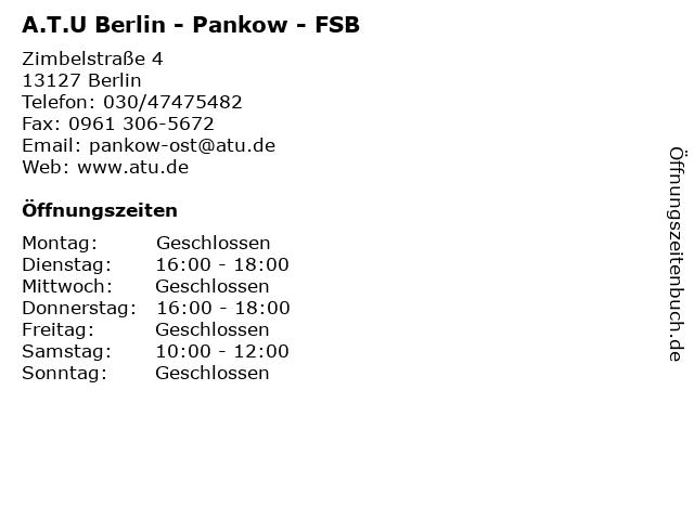 A.T.U Berlin - Pankow - FSB in Berlin: Adresse und Öffnungszeiten