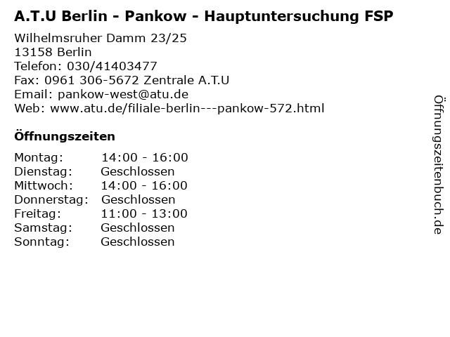 A.T.U Berlin - Pankow - Hauptuntersuchung FSP in Berlin: Adresse und Öffnungszeiten