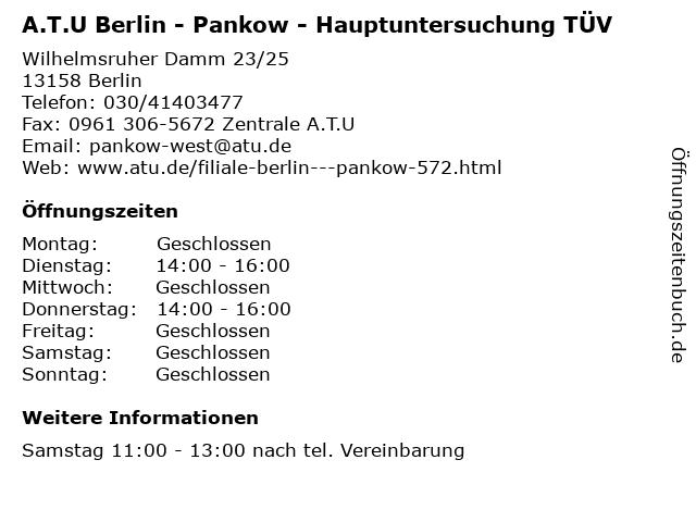 A.T.U Berlin - Pankow - Hauptuntersuchung TÜV in Berlin: Adresse und Öffnungszeiten