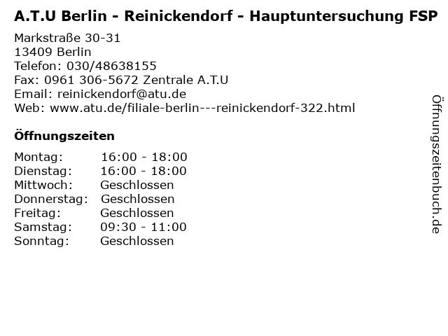 A.T.U Berlin - Reinickendorf - Hauptuntersuchung FSP in Berlin: Adresse und Öffnungszeiten