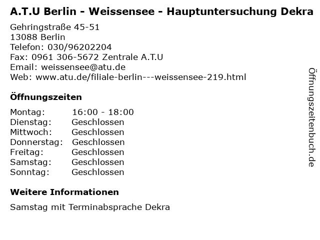 A.T.U Berlin - Weissensee - Hauptuntersuchung Dekra in Berlin: Adresse und Öffnungszeiten