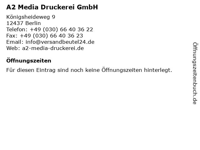 A2 Media Druckerei GmbH in Berlin: Adresse und Öffnungszeiten