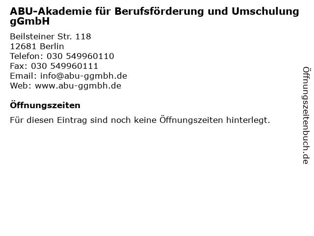 ABU-Akademie für Berufsförderung und Umschulung gGmbH in Berlin: Adresse und Öffnungszeiten