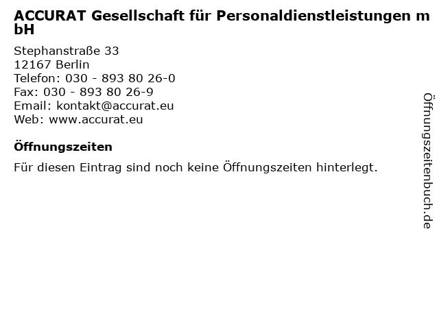 9deb2aed81f834 ACCURAT Gesellschaft für Personaldienstleistungen mbH in Berlin  Adresse  und Öffnungszeiten