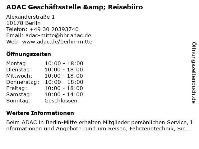 ADAC Geschäftsstelle & Reisebüro in Berlin: Adresse und Öffnungszeiten