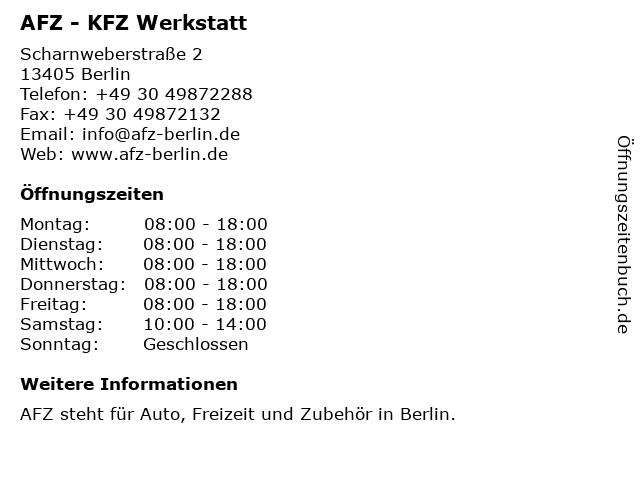 AFZ - KFZ Werkstatt in Berlin: Adresse und Öffnungszeiten