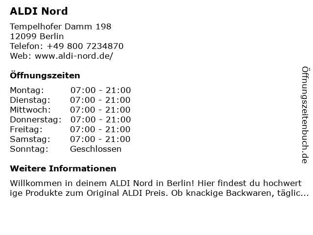 ALDI Nord in Berlin: Adresse und Öffnungszeiten