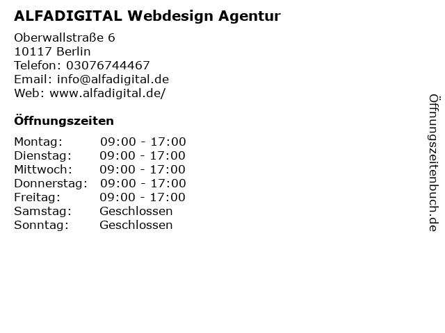 ALFADIGITAL Webdesign Agentur in Berlin: Adresse und Öffnungszeiten