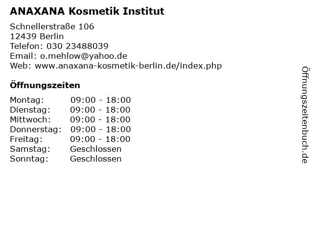 ANAXANA Kosmetik Institut in Berlin: Adresse und Öffnungszeiten