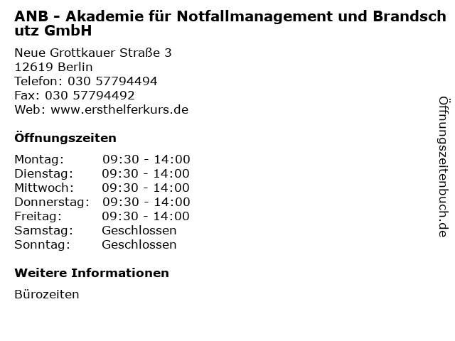 ANB - Akademie für Notfallmanagement und Brandschutz GmbH in Berlin: Adresse und Öffnungszeiten