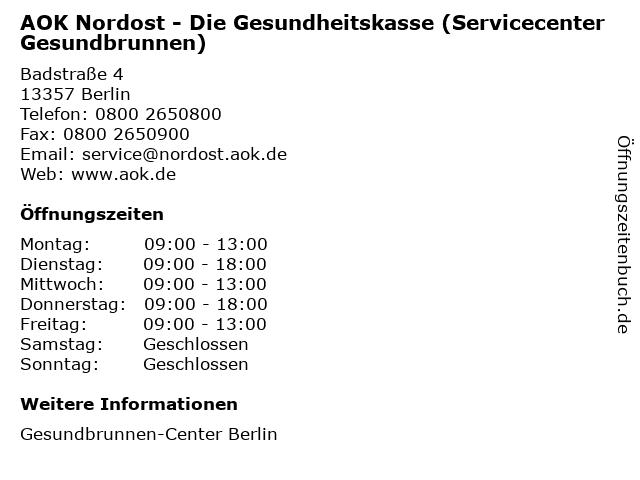 AOK Nordost - Die Gesundheitskasse (Servicecenter Gesundbrunnen) in Berlin: Adresse und Öffnungszeiten