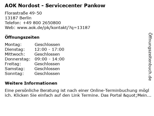 AOK Nordost - Servicecenter Pankow in Berlin: Adresse und Öffnungszeiten