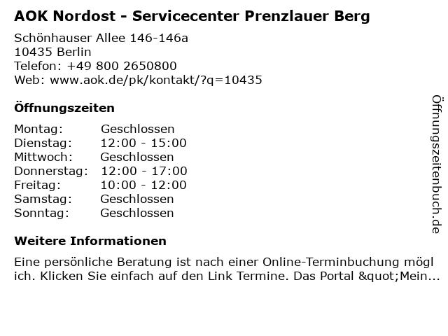 AOK Nordost - Junior-Servicecenter Prenzlauer Berg in Berlin: Adresse und Öffnungszeiten