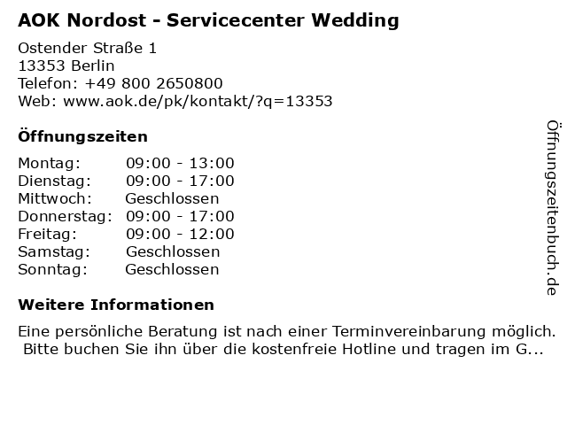 AOK Nordost - Servicecenter Wedding in Berlin: Adresse und Öffnungszeiten