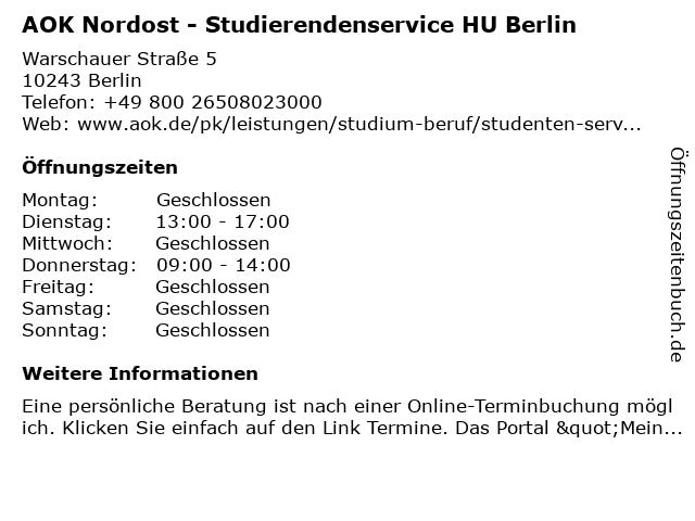 AOK Nordost - Studenten-Service HU Berlin in Berlin: Adresse und Öffnungszeiten