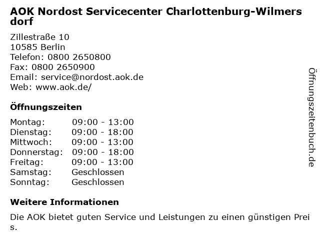 AOK Nordost Servicecenter Charlottenburg-Wilmersdorf in Berlin: Adresse und Öffnungszeiten