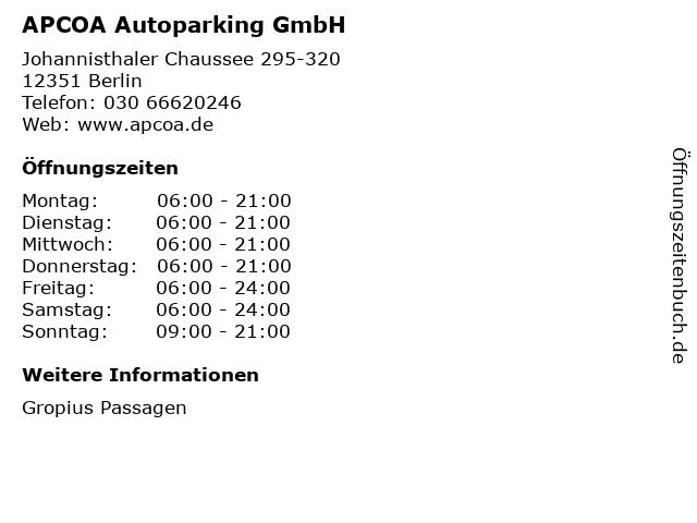 APCOA Autoparking GmbH in Berlin: Adresse und Öffnungszeiten