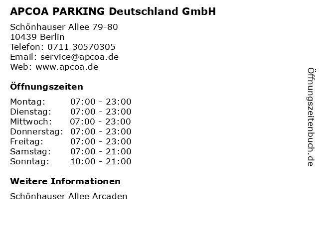 APCOA PARKING Deutschland GmbH in Berlin: Adresse und Öffnungszeiten