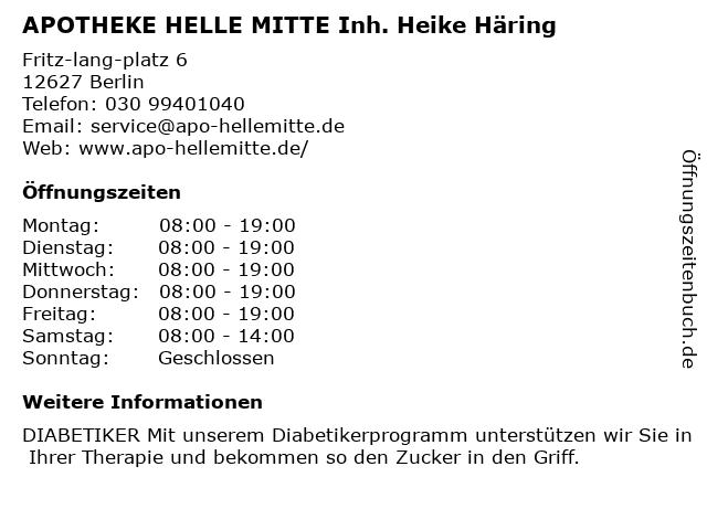 APOTHEKE HELLE MITTE Inh. Heike Häring in Berlin: Adresse und Öffnungszeiten