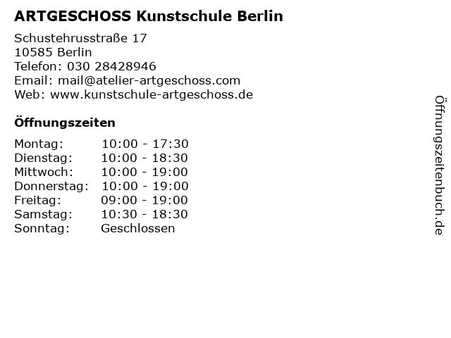 ARTGESCHOSS Kunstschule Berlin in Berlin: Adresse und Öffnungszeiten