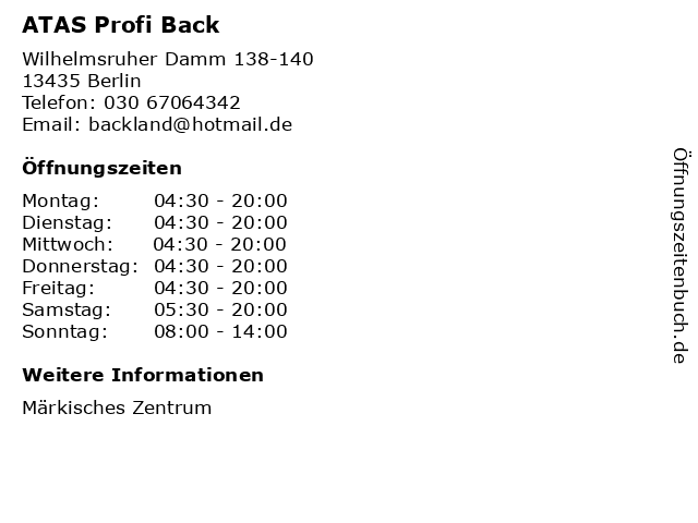 ATAS Profi Back in Berlin: Adresse und Öffnungszeiten