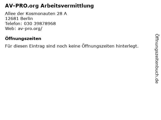 AV-PRO.org Arbeitsvermittlung in Berlin: Adresse und Öffnungszeiten